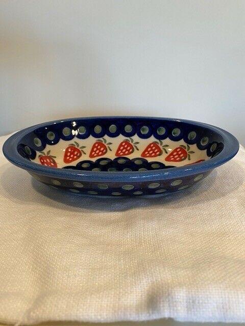 "Polish Pottery WIZA Baker Dish 8"" Blue Green w/Red Strawberries Handmade Poland"