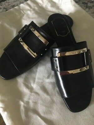 Brand New ROGER VIVIER PARIS Womens Black Leather Slides Size 37,5