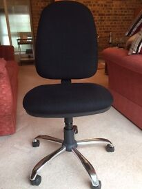 Black office chair on castors with adjustable seat height