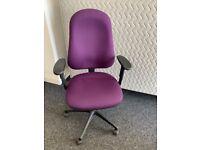 Used Ergonomic Office Chair Purple Pump Up Lumbar