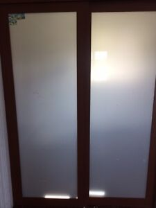 Sliding closet doors w/frosted glass