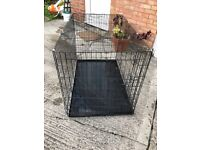 Dog crate large black metal