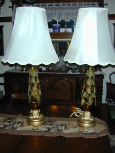 "BEAUTIFUL SET OF ANTIQUE ""AMBER"" GLASS LAMPS WITH SHADES"