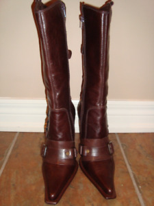 New brown leather boots