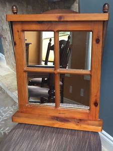 Wall mirror with solid pine fram