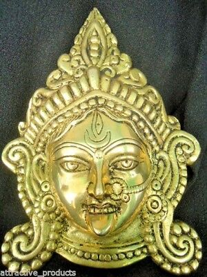 INDIAN ANTIQUE 100% SOLID BRASS STATUE HINDU GODDESS KALI DURGA WALL HANGING for sale  Shipping to United States