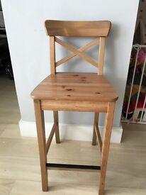 2 xINGOLF: Bar stool with backrest, antique stain 63cm
