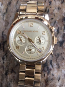 Round Gold-Colored Michael Kors Chronograph Watch