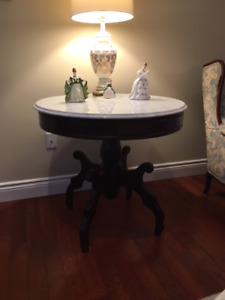 Exceptional Carved Mahogany Table with Marble Top