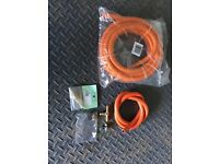 Gas Hose 5m, T-Piece, Quick Release Coupling and Clips - All New & Unused - BBQ - Camping - Patio