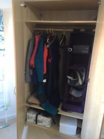 Beech veneer wardrobe with hanging rail, two wooden shelves and canvas shelving
