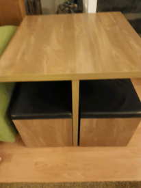 Space saver dining table and 4 stools