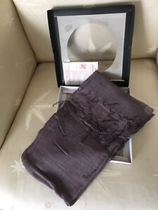 "Silk Scarf, plum color, ""Hong Silk"" new in box"