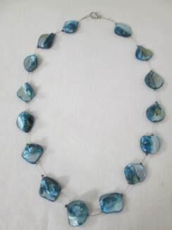 Short Aqua Blue Shell Necklet. IS STILL AVAILABLE.