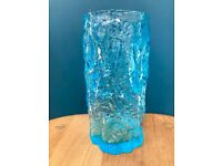 VINTAGE BLUE GLASS VASE, 1970s, TEXTURED BARK EFFECT, RETRO MID CENTURY ORIGINAL