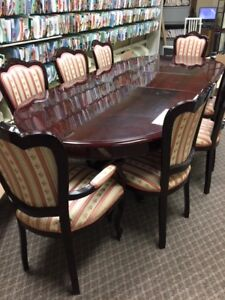 SOLID CHERRY WOOD DOUBLE PEDAL STOOL TABLE AND 8 CHAIRS