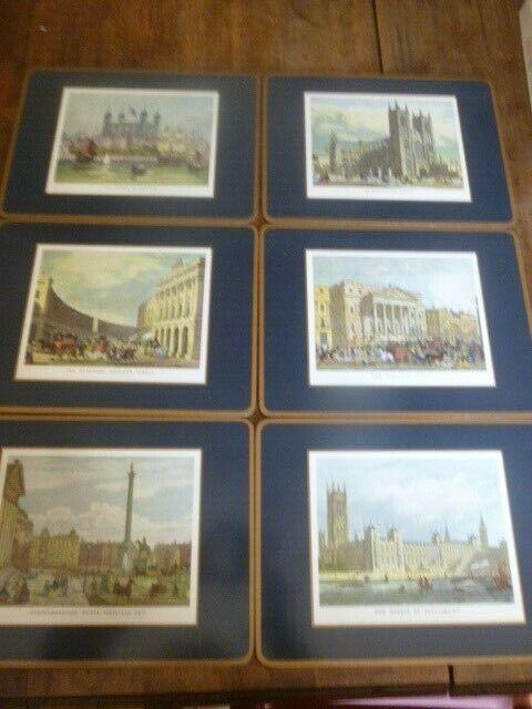 Pimpernel vintage 6 sets de table et 6 dessous de verre - monuments london rare