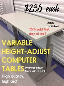 VARIABLE HEIGHT COMPUTER TABLES, TRAINING TABLES, MANY AVAILABLE
