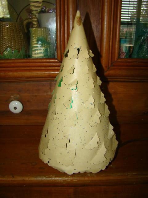 1952 ECONOLITE Spinning Paper Motion Lamp Christmas Tree Decoration, Blue Bulb