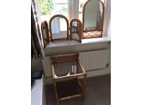 Really nice 3 piece wicker bedside table, dressing table mirrors and matching wall mirror