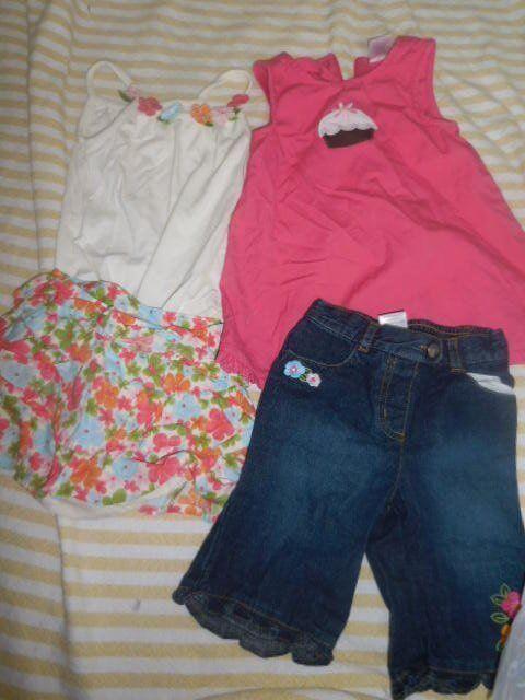 Euc Lot 4 Gymboree Dress, Skort, Top, Jeans Baby Girl 12 M 18 M Free Ship Usa