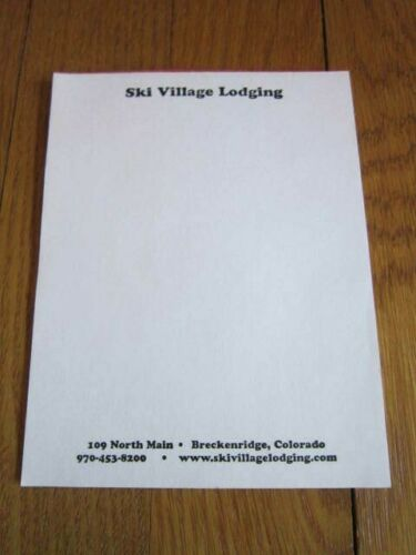 Breckenridge Colorado Ski Village Lodging Memo Note Pad Paper Souvenir CO