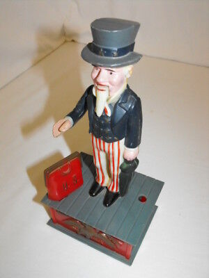 Vtg Uncle Sam Patriotic Tax Man Piggy Coin Bank Mechanical Plastic 1970s Toy 9""