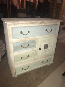 Small White Dresser (mini storage unit/hutch with drawers)