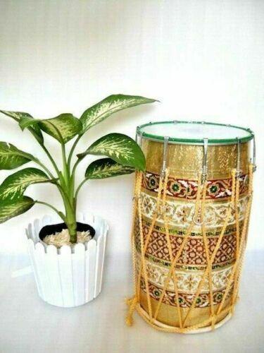 MeenaKari Work Folk Musical Instrument Mango Wood Punjabi Bhangra Dhol With Bag