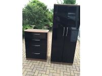 2 door wardrobe and matching chest of drawers both slightly marked on sides but very solid