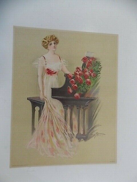 Vintage Victorian Lithograph Lady Standing By Piano 104D Maud Stumm - $15.95