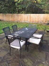 Outside Dining Table, Chairs, Cushions & Parasol