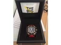 Quantum PWG413858 Watch, Red strap black and gold bezel
