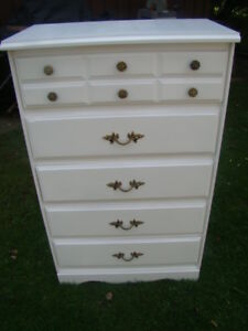 Nice 5 drawer Tall boy dresser ( painted arctic white )