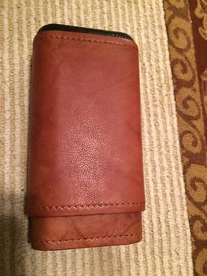 Tan Leather Cigar - Tan Leather 3 Finger Cigar Case Cedar Lined Holds 3 Cigars   New in Box  C039