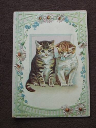 TWO CUTE KITTENS / CATS ON Vintage EMBOSSED VICTORIAN CARD