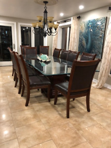 Dining chairs, set of 12, leather and wood