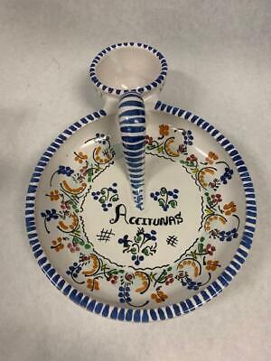 Cruz Spanish Ceramic Puente del Arzobispo Spain Olive Dish Tapas Aceitunas segunda mano  Embacar hacia Argentina