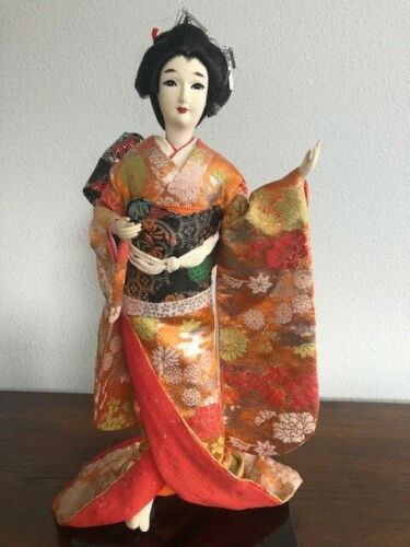 "Two Vintage Japanese Geisha Dolls in Red and Orange Kimonos 17"" on Wooden Base"
