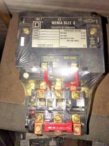 Square D Nema Size 2 8536SDG1 HS ENCL Contactor, 208V Coil, 3 Pole, Series A