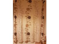 Fully lined leaf/flower brown/beige curtains with tie backs