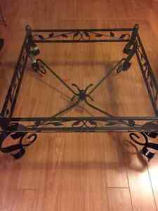 glass and black metal coffee table and side table