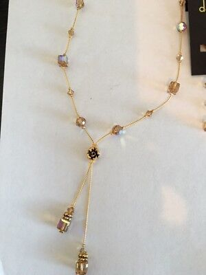 - Crystal Necklace Double Dangle Y-24K gold plated Dabby Reid-NEW