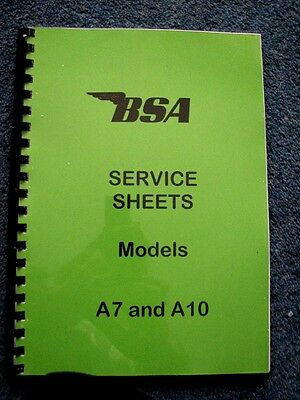 BSA WORKSHOP MANUAL Service Sheets for A7 and A10 1946 to 1962 - 00-0702 - BW08