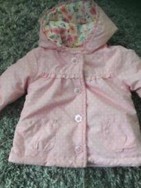 Baby girls pink polka dot coat 3-6 months