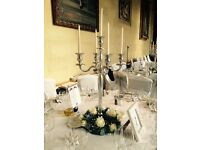 Gold Candelabras for hire Silver candelabras for hire Wedding event party christmas function