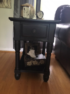 Solid Wood End Tables/Glass Cabinet & 2 Occasional Tables