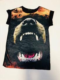 river island oversized silk tshirt animal print SIZE UK 10