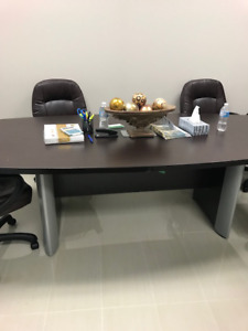 8 Feet Used Boat Shape Dark brown Boardroom table in Mississauga