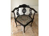 **MOVING SALE** Stunning Dark Wood / Ebony Antique Corner Chair